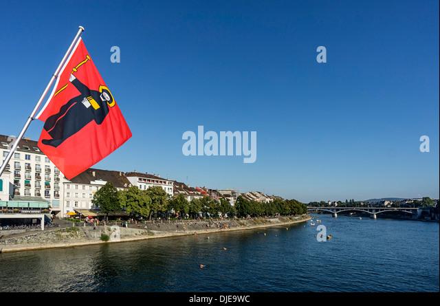 Canton Glarus flag, Rhine River, Middle Bridge, Basel, Switzerland - Stock Image