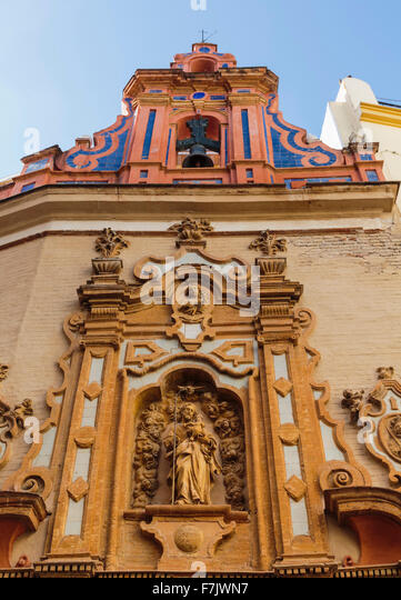 Seville, Seville Province, Andalusia, southern Spain.  Facade of the Baroque capilla, or chapel, of San Jose in - Stock Image