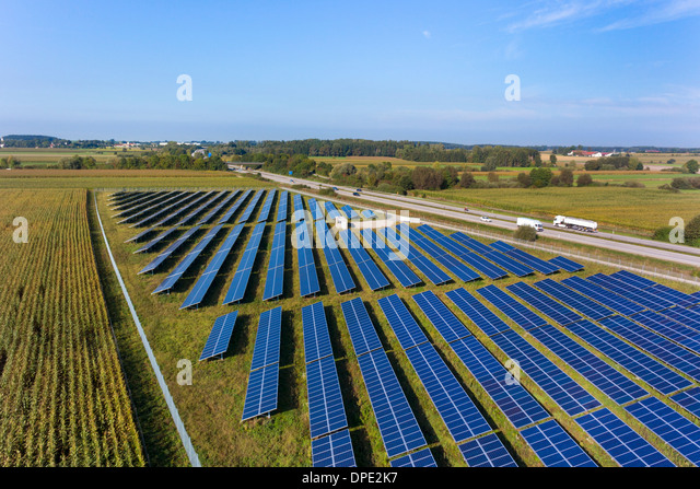 View of solar power panels, Munich, Bavaria, Germany - Stock Image