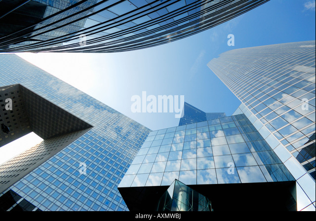 modern architecture and skyscrapers in financial district of La Defense Paris France - Stock Image