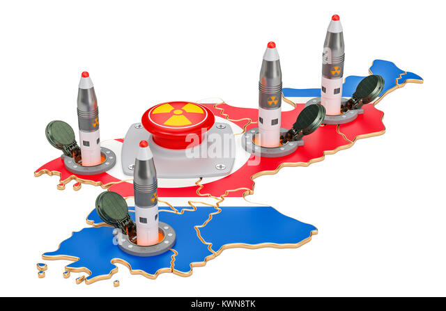 North Korean nuclear button concept. Korean missile launches from its underground silo launch facility, 3D rendering - Stock Image