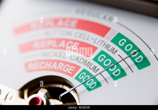 Battery Meter Reading Good Battery - Stock Image