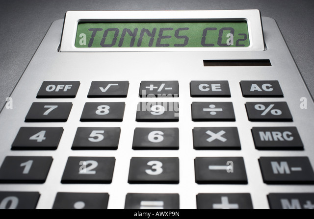 Calculator informing about carbon dioxide concentration - Stock Image