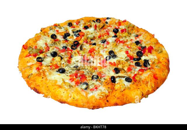 round pizza isolated on white - Stock Image
