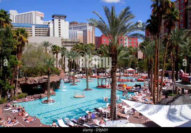 Nevada Las Vegas The Strip South Las Vegas Boulevard Flamingo Las Vegas Hotel and Casino hotel swimming pool area - Stock Image