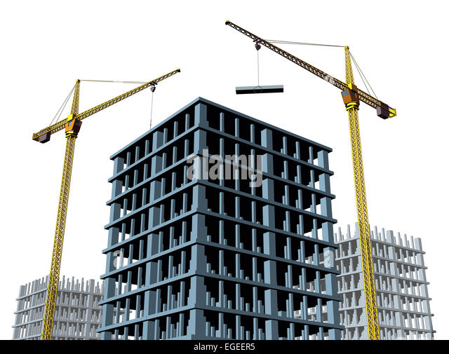 High rise contruction site with a concrete structure in the process of being built as a commercial real estate structure - Stock Image