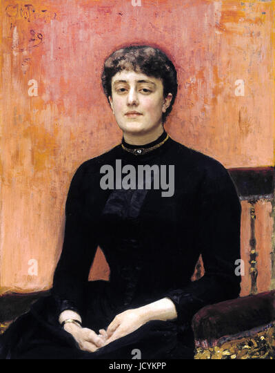 Ilya Repin, Portrait of painter Elizabeta Nikolayevna Zvantseva 1889 Oil on canvas. Ateneum, Helsinki, Finland. - Stock Image