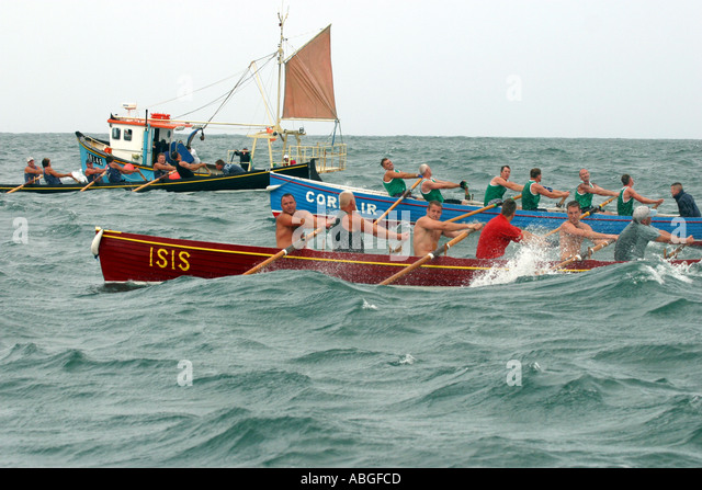 Pilot gig racing off Newquay Cornwall UK - Stock Image