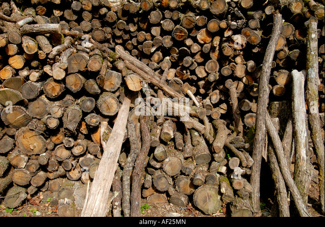 Pile of logs for fire, France. - Stock Image