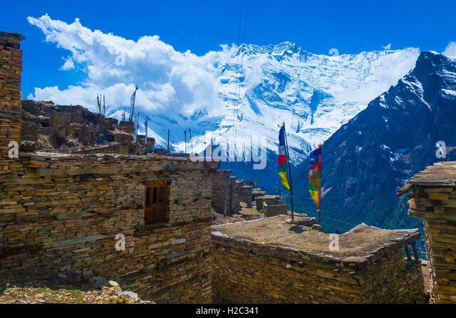 Photo Trakking Himallaya Vilage Path.View Snow Nepal Mountans Background. Hikking Sport Travel. Horizontal - Stock Image