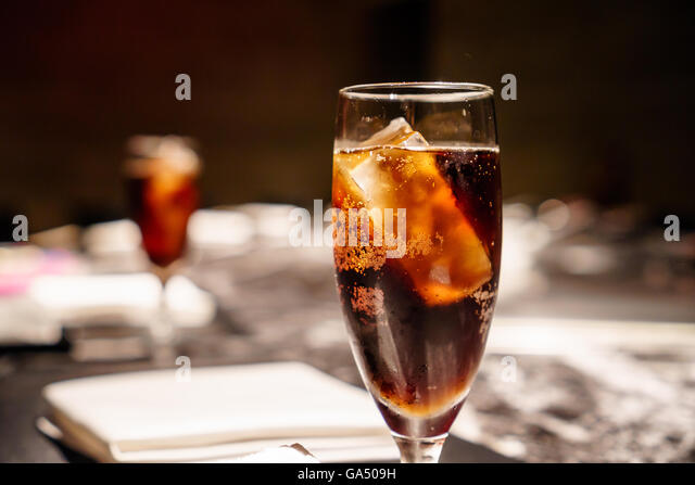 Iced soft drink in a luxurious restaurant. - Stock Image