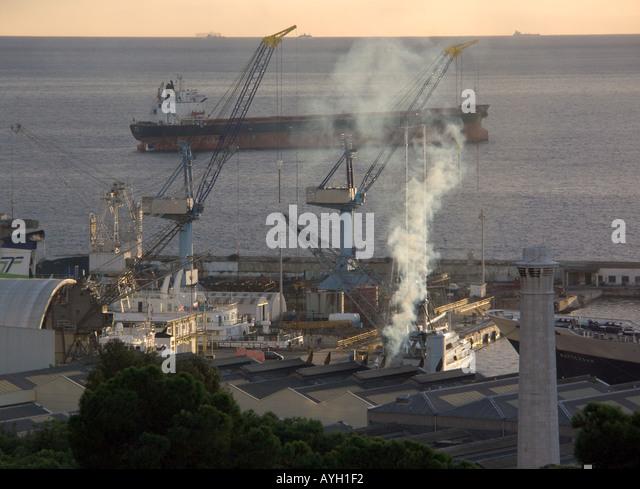 Dusk over Shipyard, Bay of Gibraltar, Tankers, shipyard shipyards sunset sunsets dusk ship ships shipping tanker - Stock Image