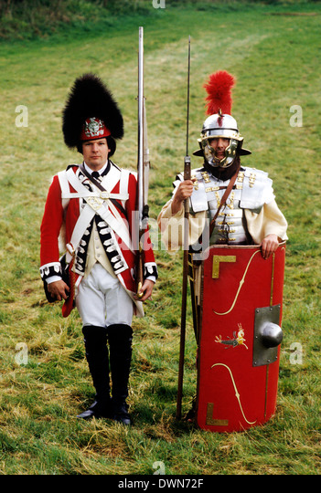 Soldiers in British History, 18th century foot soldier and 2nd century Roman, historical re-enactment multi periods - Stock Image
