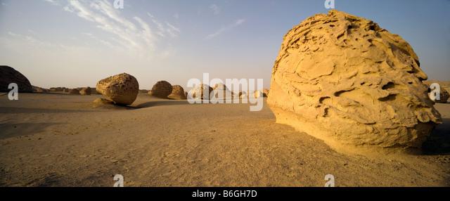 view of landscape, Wadi Al-Hitan (Whale Valley), Fayoum, Egypt - Stock Image