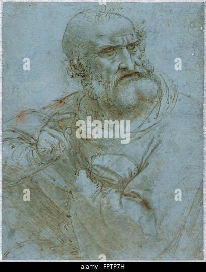 Leonardo da Vinci - Half Length Figure of an Apostle -  1493 1495 - Stock Image