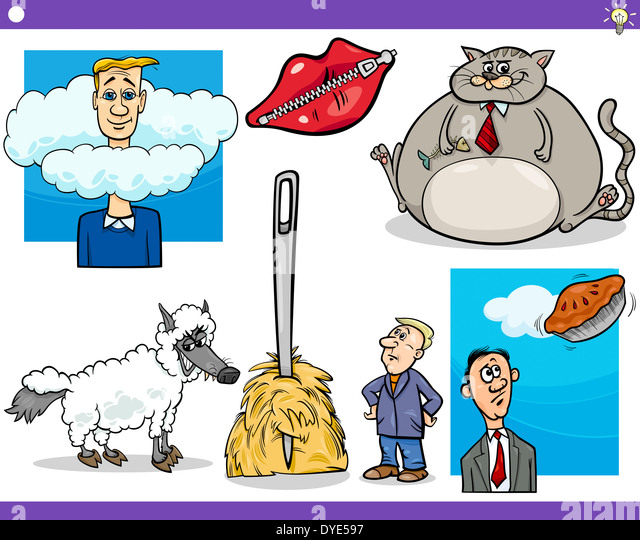 Illustration Set of Humorous Cartoon Concepts or Sayings and Metaphors with Funny Characters - Stock Image