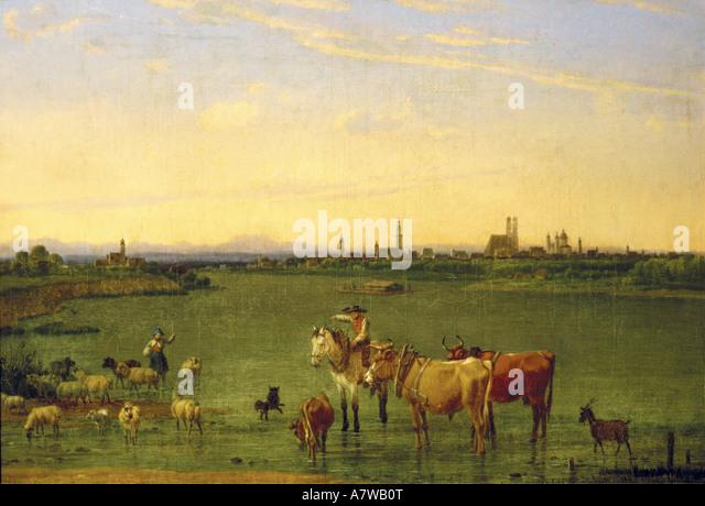'fine arts, Kobell, Wilhelm von (1766 - 1853), 'München von Nordosten', painting, 1815, oil on - Stock-Bilder
