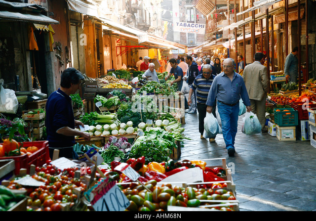 Catania s food market near the fish market Catania sicily - Stock Image