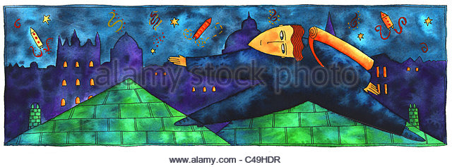 Pen and ink illustration of a cat burglar on a roof during the night. - Stock-Bilder