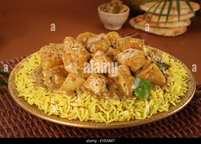 POLYNESIAN CHICKEN CURRY WITH RICE - Stock Image