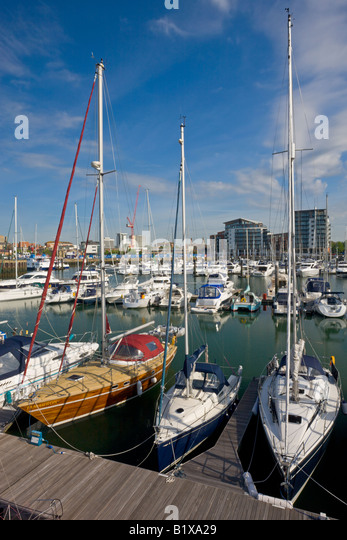 Yachts moored at Ocean Village Marina Southampton Hampshire England - Stock-Bilder