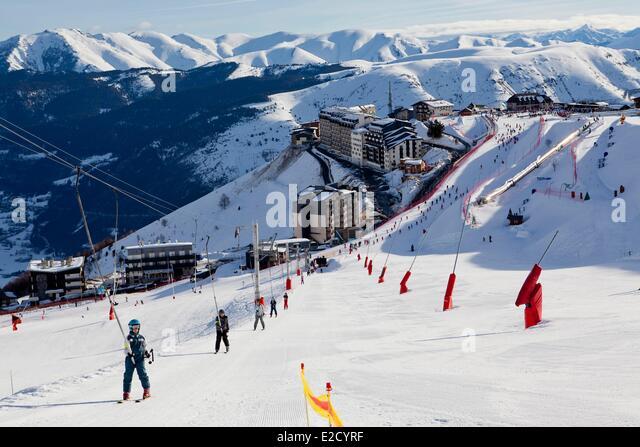 France Hautes Pyrenees St Lary ski resort the Plat d'Adet - Stock Image