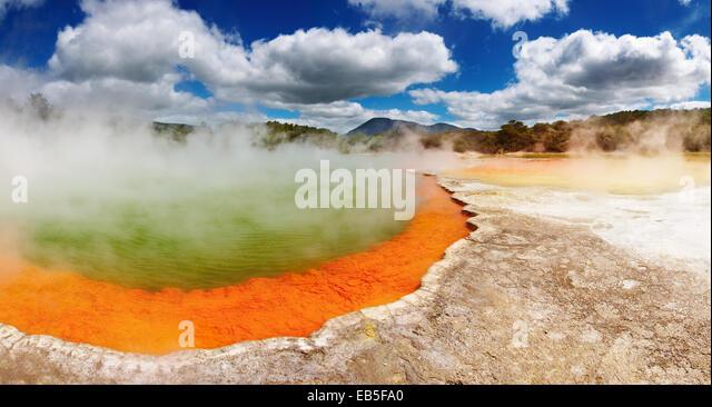 Champagne Pool, hot thermal spring, Rotorua, New Zealand - Stock Image