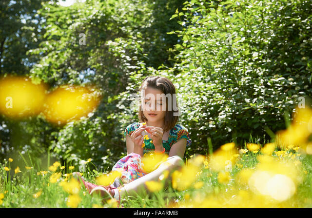 Girl making floral crown in park, Munich, Bavaria, Germany - Stock Image