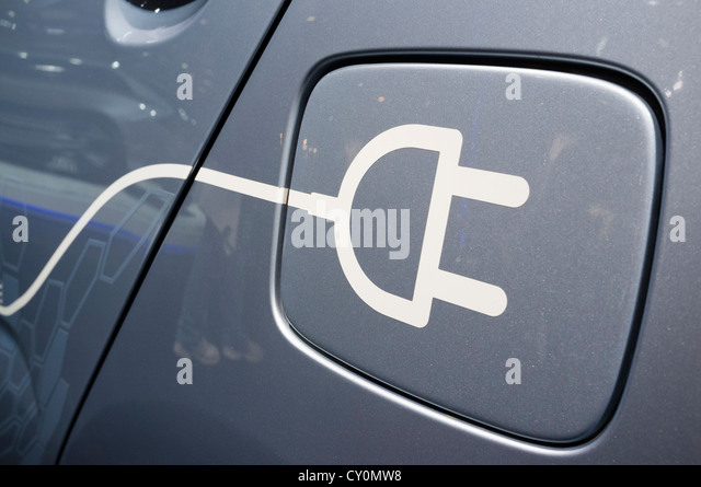Detail of symbol on electric car for plug-in recharging at Paris Motor Show 2012 - Stock Image