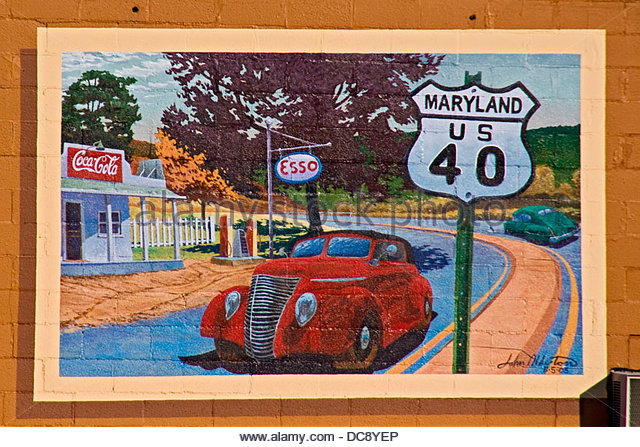 Esso gas station stock photos esso gas station stock for Cleveland gas station mural