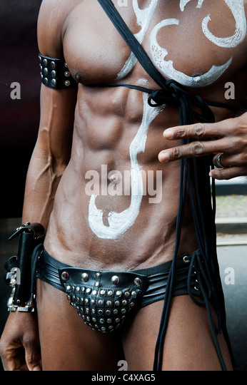 Man posing at Christopher Street Day Parade in Berlin Germany 2011 - Stock Image