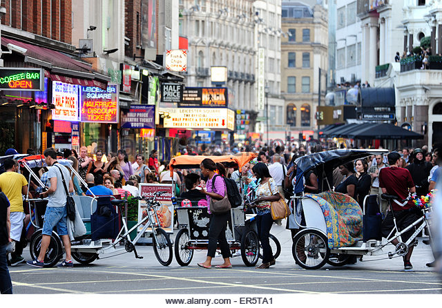 Charing Cross Road with view towards Leicester Square, Soho quarter, West End, London, England, Great Britain, United - Stock Image