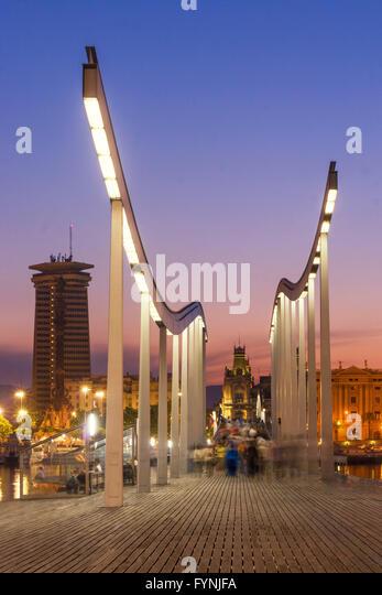 Rambla de Mar, Footbridge, sunset,  Port Vell,  Barcelona, Spain - Stock Image