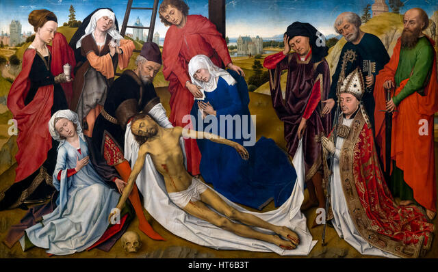 The Lamentation of Christ, by Rogier van der Weyden, circa 1460, Royal Art Gallery, Mauritshuis Museum, The Hague, - Stock Image