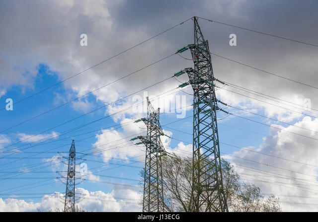 High voltage Pylons - Electro Smog - Stock Image