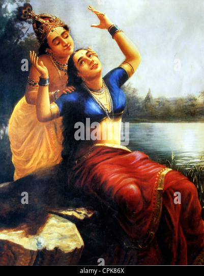 A painting by Raja Ravi Varma 'Radha Madhavam' - Love scene of Sri Krishna and Radha - Stock Image