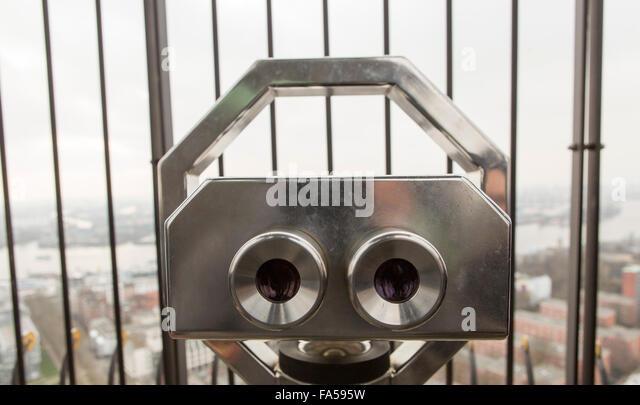 Hamburg Germany . Viewing binoculars on the roof of St. Michael's Church - Stock Image