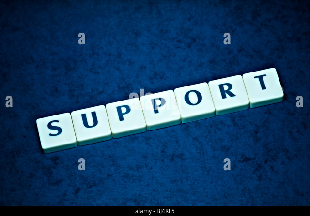 Support Letters on beautiful blue backround - Stock Image
