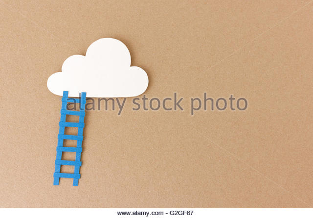 Ladder leading up to cloud - reach your goals & dreams- inspirational image with space to add your motivational - Stock Image