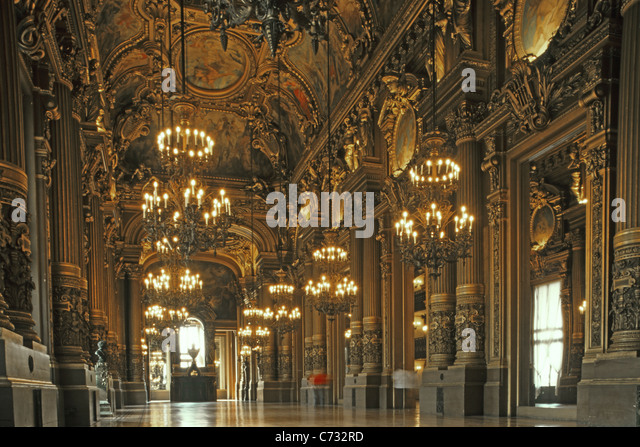 Inside Opera Garnier, Second Empire, ornamental, Paris, France - Stock Image