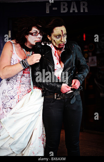 zombies at the revenge  bar - Stock Image