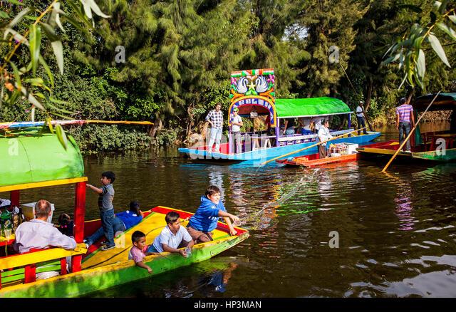 Trajineras on Canal, Xochimilco, Mexico City, Mexico - Stock Image