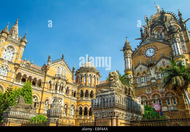 Chatrapati Shivaji Terminus earlier known as Victoria Terminus in Mumbai, India - Stock Image