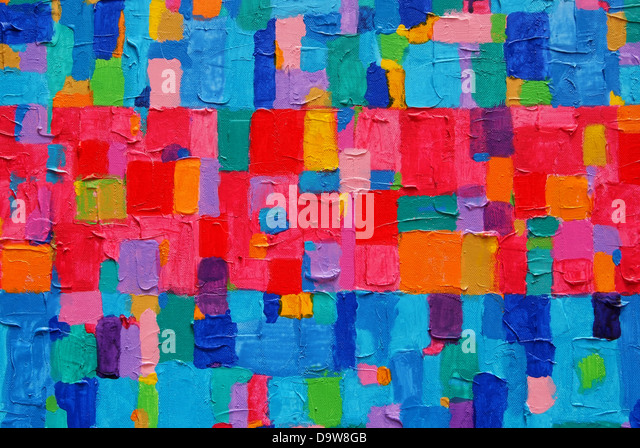 'Red & Blue Painting' Texture, background and Colorful Image of an original Abstract Painting on Canvas - Stock Image