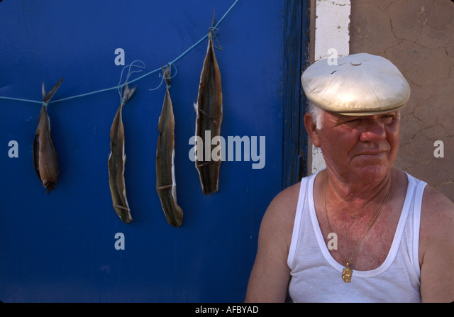 Portugal Algarve Quartiera mestre do mar fisherman fish filets curing hanging - Stock Image
