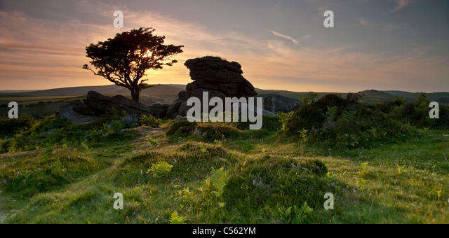 Sunset at Saddle Tor, South Dartmoor National Park, Devon, England UK - Stock Image