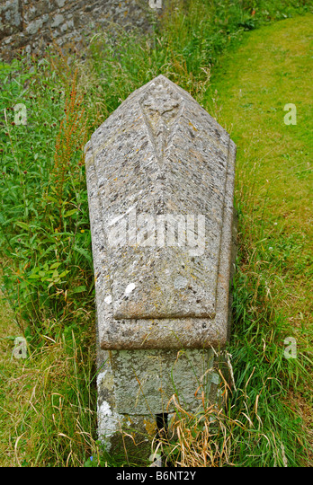 a granite tomb in a village graveyard in cornwall,uk - Stock Image