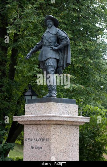 Estonia, Tartu, Statue of Swedish King Gustavus Adolphus ll - Stock Image