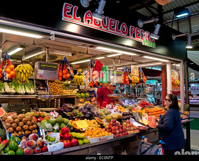 Mercado de la Cebada food Market Madrid Spain - Stock Image