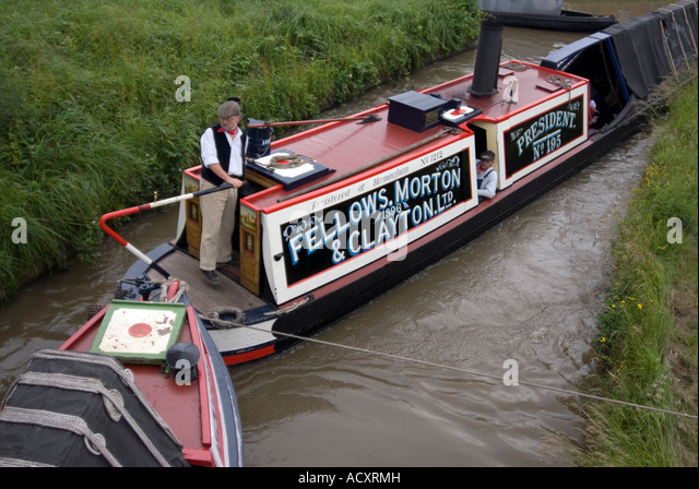 Fellows Morton & Clayton FMC traditional historic Josher narrowboat on the canal registered at Birmingham President - Stock Image